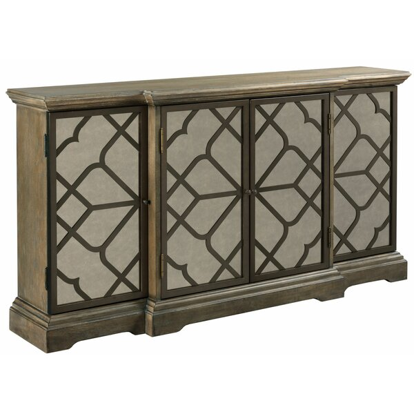 Nesrine Fret 4 Door Mirrored Accent Cabinet by One Allium Way One Allium Way