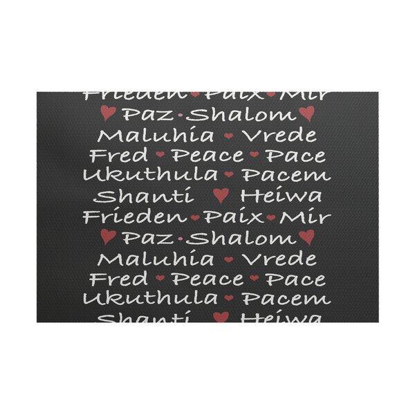 Words of Peace Word Print Black/White Indoor/Outdoor Area Rug by The Holiday Aisle