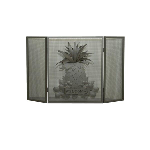 Welcome Pineapple 3 Panel Fireplace Screen By Meyda Tiffany