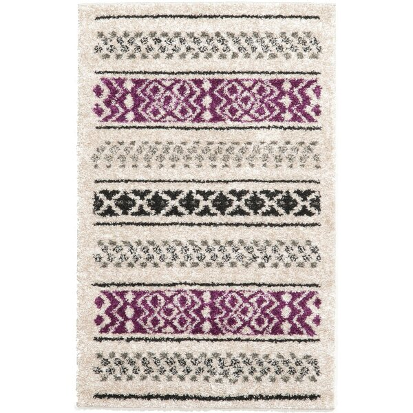 Landry Beige/Black/Purple Area Rug by Bungalow Rose