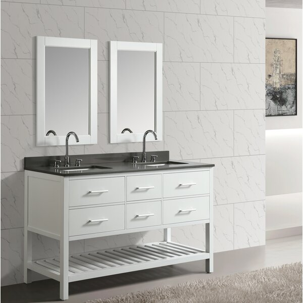 Highland Creek 60 Double Bathroom Vanity Set with Mirror by Ebern Designs