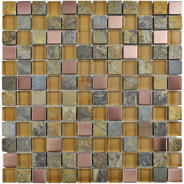 Abbey 0.88 x 0.88 Glass/Stone/Metal Mosaic Tile in Alloy Copper by EliteTile