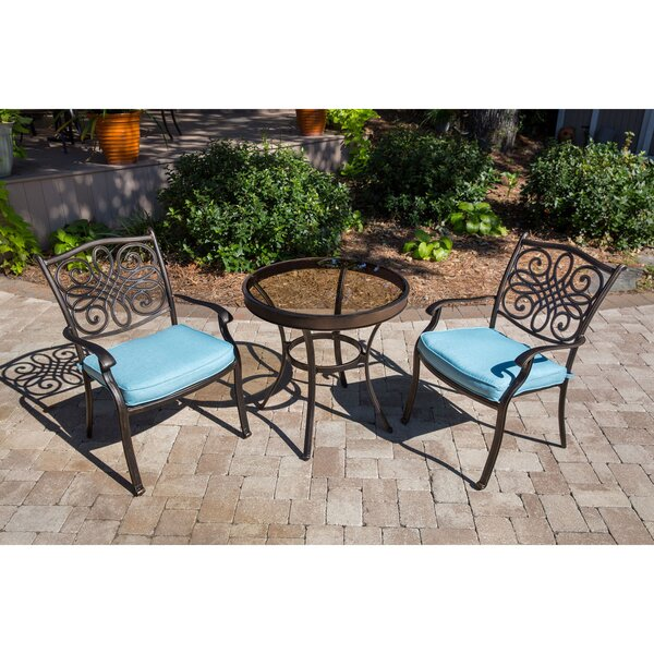 Robey Patio Garden 3 Piece Bistro Set with Cushions