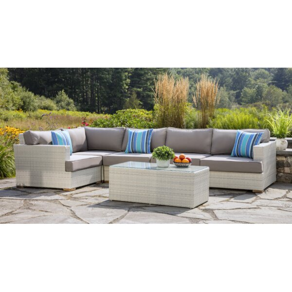 Mykonos 6 Piece Rattan Sectional Seating Group with Cushions by Madbury Road