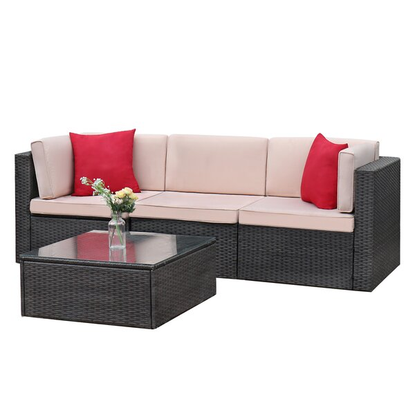 Tuscumbia 4 Piece Rattan Sectional Seating Group with Cushions by Ebern Designs Ebern Designs