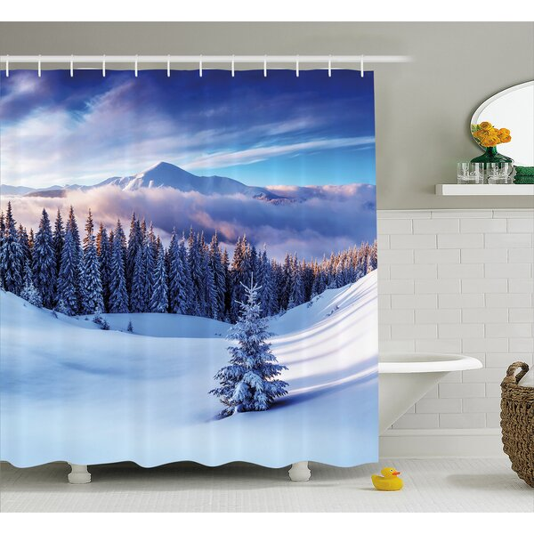 Jennings Surreal Winter Scenery With High Mountain Peaks and Snowy Pine Trees Shower Curtain by Winston Porter
