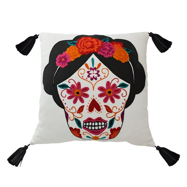 Mexico City Craneo Cotton Throw Pillow by Blissliving Home