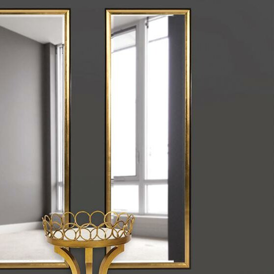 Brinley Rectangle Gold Trimmed Wall Mirror by Willa Arlo Interiors
