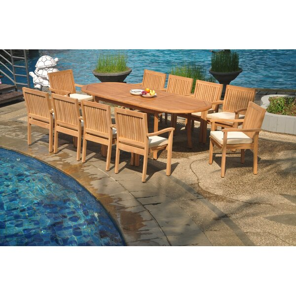 Pennsylvania 11 Piece Teak Dining Set by Rosecliff Heights