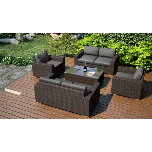 Hodge 5 Piece Double Sofa Set with Cushions by Rosecliff Heights