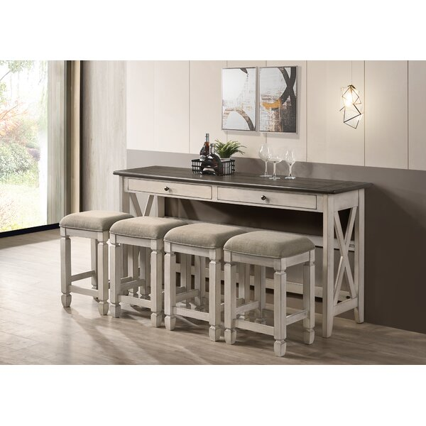 5 Piece Two Tone Counter Dining Table With Drop Leaf And 4 Stools in  Drop Leaf by Gracie Oaks Gracie Oaks