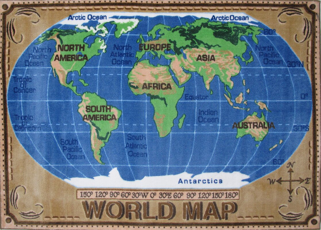 Fun Rugs Supreme World Map Kids Rug Reviews Wayfair - World globe map for kids