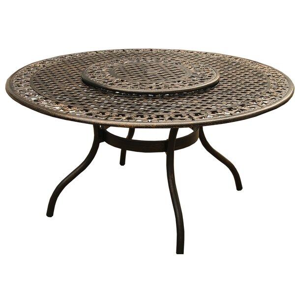 Casarez Ornate Traditional Outdoor Mesh Lattice Dining Table by Fleur De Lis Living