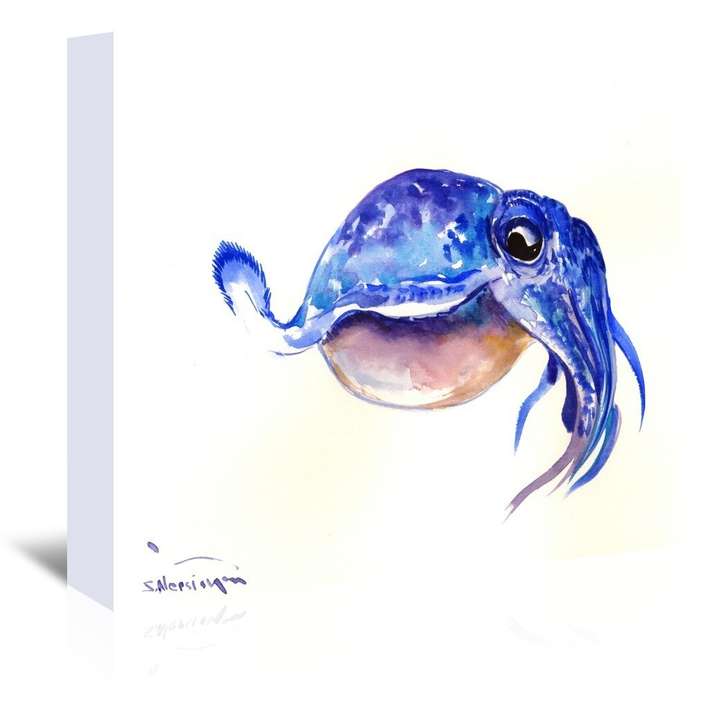 East Urban Home Cuttlefish Painting Print On Wrapped Canvas Wayfair