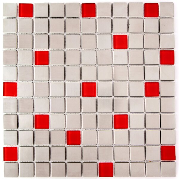 1 x 1 Glass and Natural Stone Mosaic Tile in Steel/Red by Crystalcor USA