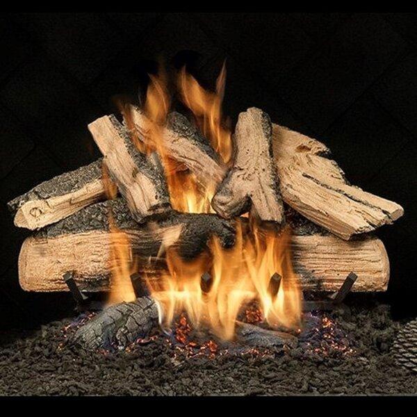 Elegant Charred Split Oak Vented Natural Gas/Propane Fireplace Log Set by HargroveGasLogs HargroveGasLogs