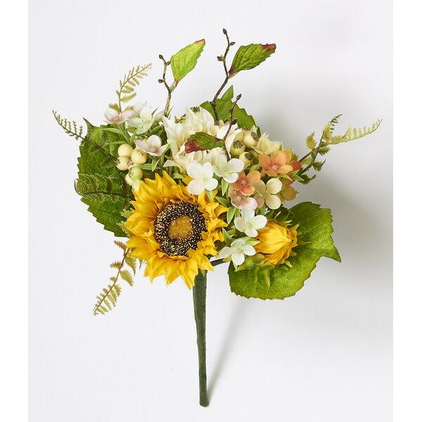 Sunflower Berry Bush Floral Arrangement (Set of 3) by Gracie Oaks