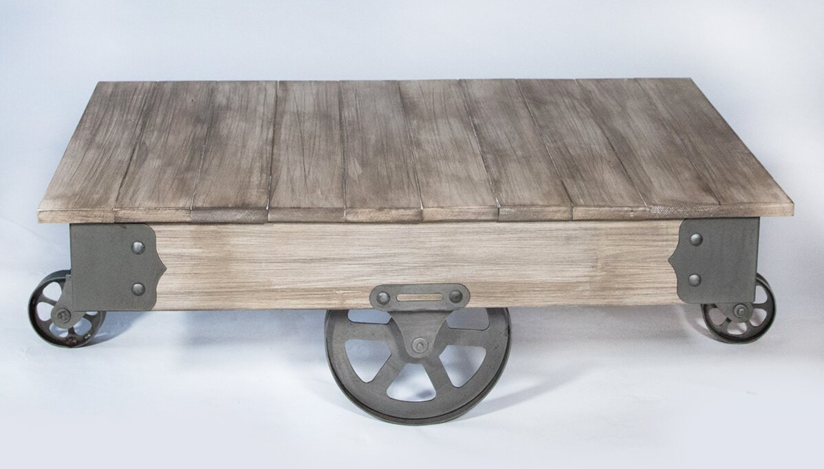 REZFurniture Vintage Center Coffee Table with Wheels & Reviews