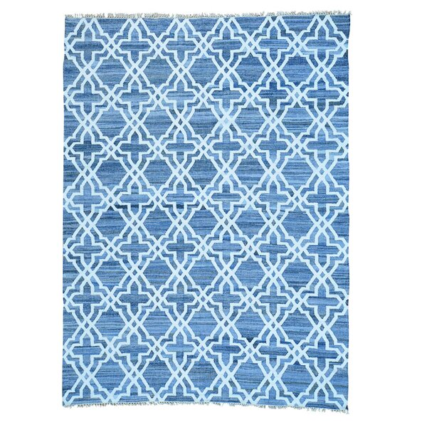 One-of-a-Kind Kilim Hand-Knotted Blue/Ivory Area Rug by Bungalow Rose