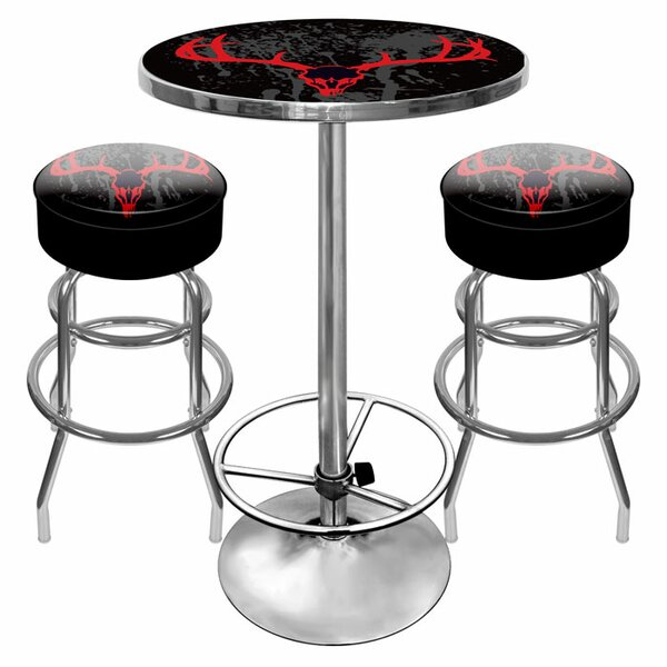 Hunt Skull Game Room 3 Piece Pub Table Set by Trademark Global