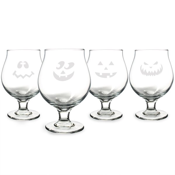 4 Piece Jack-O-Lantern Belgian 16 oz. Beer Glass Set by Cathys Concepts