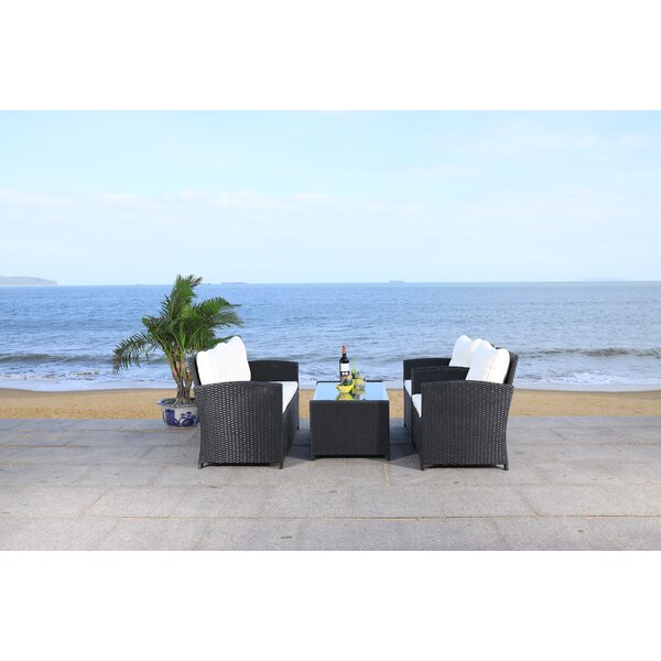 Vellor 4 Piece Rattan Sofa Seating Group with Cushions by Latitude Run