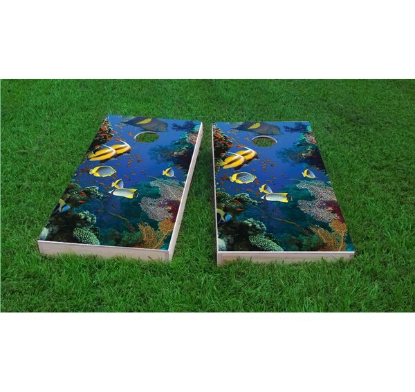 Coral Reef with Tropical Fish Cornhole Game Set by Custom Cornhole Boards