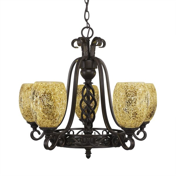 Pierro 5-Light Shaded Wagon Wheel Chandelier by Astoria Grand Astoria Grand