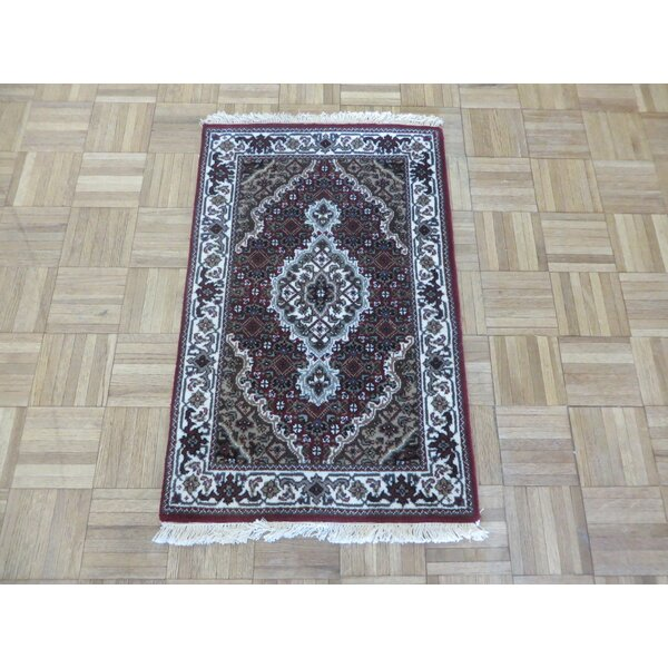 One-of-a-Kind Raiden Tabriz Hand-Knotted Black Area Rug by Astoria Grand