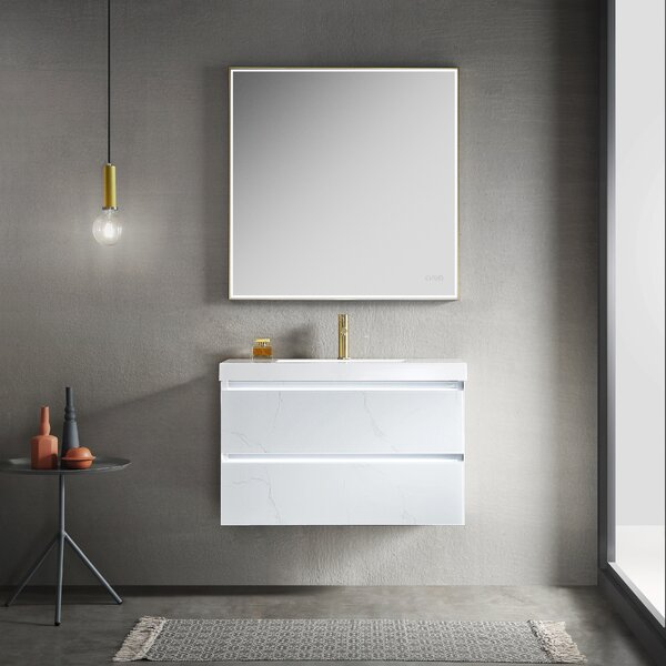 Fahriye LED Lighted 35 Single Bathroom Vanity Set with Mirror