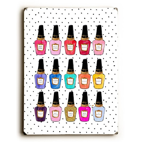 Polish My Nails Painting Print on Wood by Mercer41