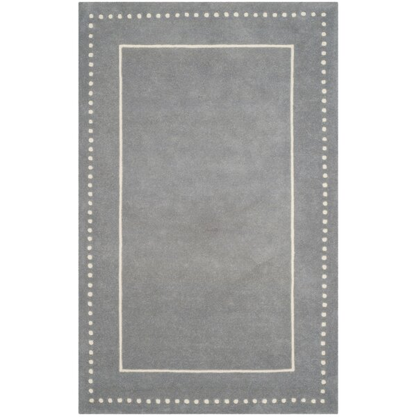 Amundson Hand-Tufted Silver/Ivory Area Rug by Charlton Home