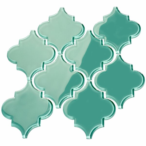 Water Jet 3.9 x 4.7 Glass Mosaic Tile in Teal by Giorbello