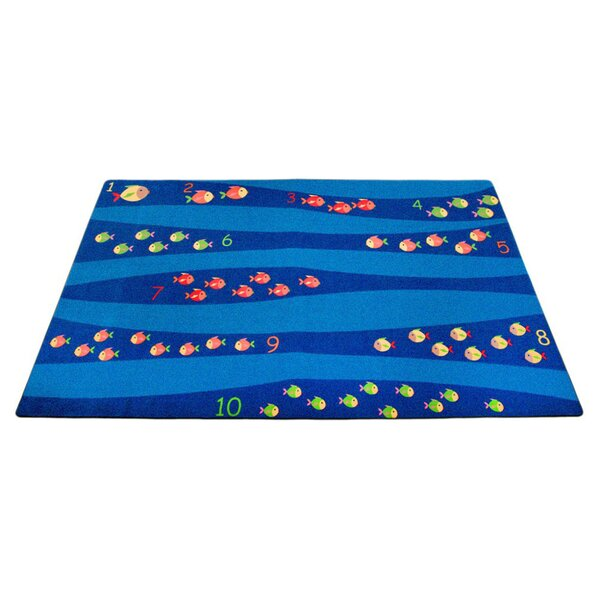 Classroom Blue School of Fish Area Rug by Kid Carpet