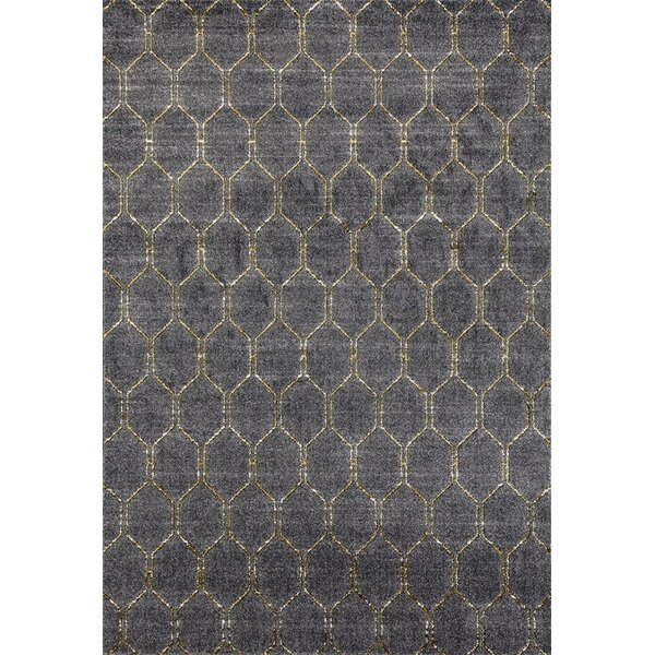 Dossantos Geometric Gray Stain Resistant Indoor/Outdoor Area Rug by Ivy Bronx