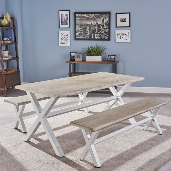 Acacia Wood 3 Piece Solid Wood Dining Set by Gracie Oaks