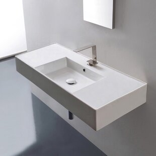 Find for Ceramic 40 Wall Mounted Bathroom Sink with Overflow By Scarabeo by Nameeks