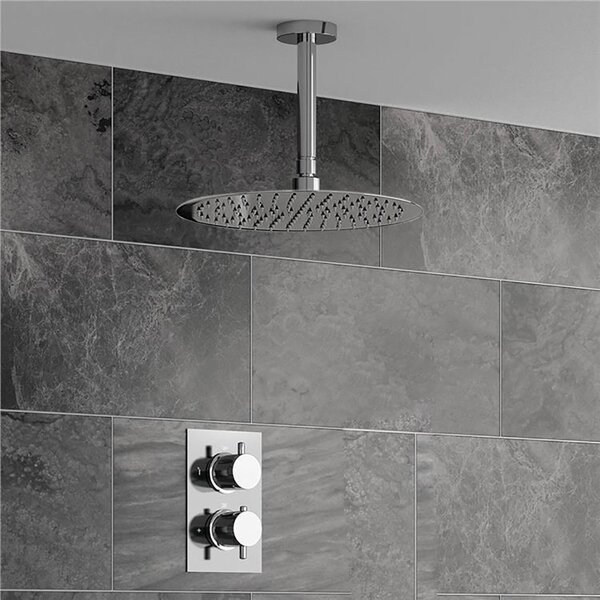 Ultra Thin Head Thermostatic Complete Shower System with Rough-in-Valve by Symple Stuff Symple Stuff