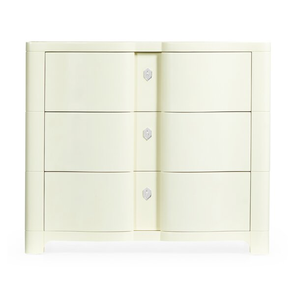 Bowfront Bedside 3 Drawer Accent Chest by Jonathan Charles Fine Furniture