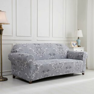 Printed Floral Box Cushion Loveseat Slipcover