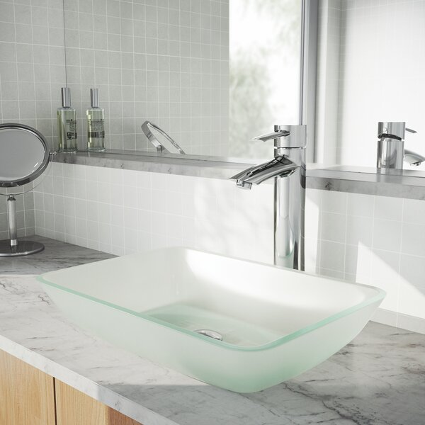 Glass Rectangular Vessel Bathroom Sink with Faucet by VIGO