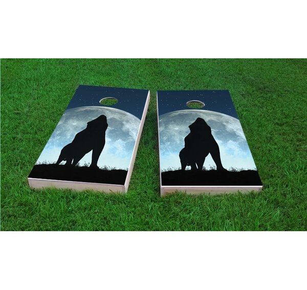 Wolf Howling On Full Moon Cornhole Game Set by Custom Cornhole Boards
