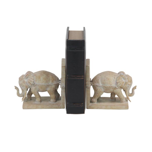 Contemporary Elephant L-Shaped Bookends (Set of 2) by Bungalow Rose
