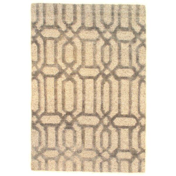 Loop & Pile Modern Soumak Weave Hand-Knotted Wool Beige Area Rug by Pasargad NY