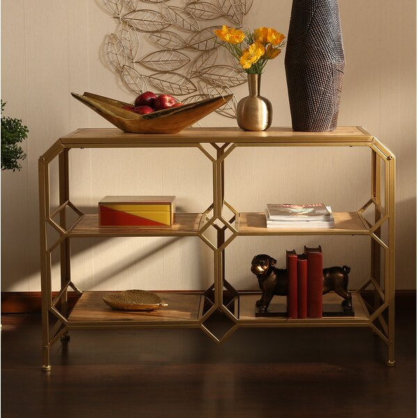 Review Spraggins Wood And Metal Console Table