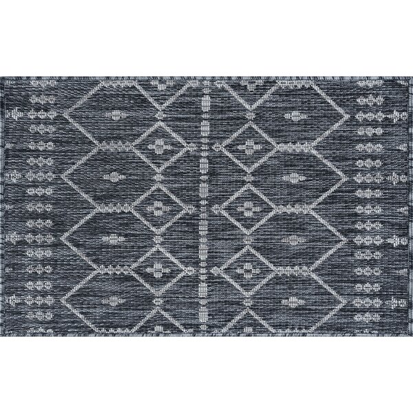 Speers Contemporary Geometric Charcoal Indoor/Outdoor Area Rug by Bungalow Rose
