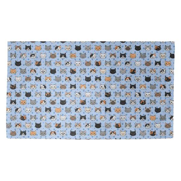 Avicia Kitty Cat Blue/Orange Area Rug