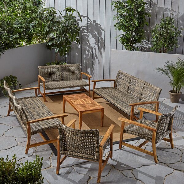 Warford Outdoor 6 Piece Sofa Seating Group by Bungalow Rose