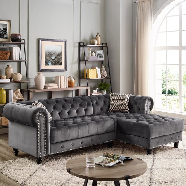 Best Design Millry Right Hand Facing Chesterfield Modern Sectional by House of Hampton by House of Hampton