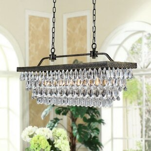 West Line Rectangular Crystal 4 Light Kitchen Island Pendant